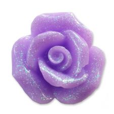 20mm LILAC Glitter Rose Resin Flatback Cabochon